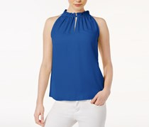 Kensie Women Luxury High-Neck Crepe Top, Blue