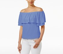 Kensie Off-The-Shoulder Flounce Pom-Pom Top, Blue
