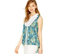 kensie Contrast-Print High-Low Blouse, True Blue