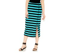 kensie Striped Midi Skirt, Tahiti teal combo