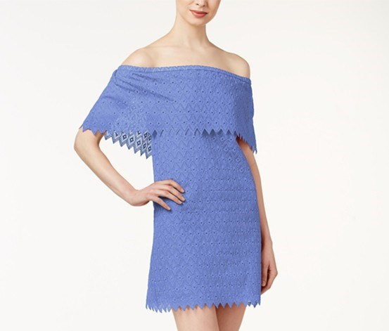 Off-The-Shoulder Eyelet-Detail, Dusty Perriwinkle