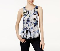 Kensie Tropical Printed Peplum Top, Dark Saphire Combo