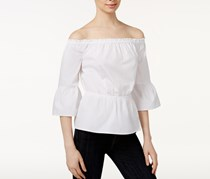 Kensie Oxford Cotton Off-The-Shoulder Top, White