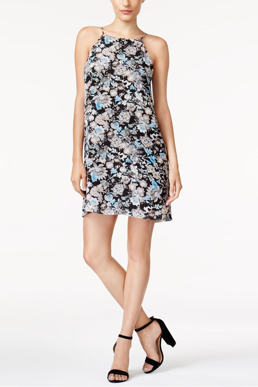 Floral Print Lace-Inset Dress, Black Combo