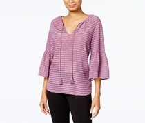 Kensie Striped Ruffle-Sleeve Top, Mauve