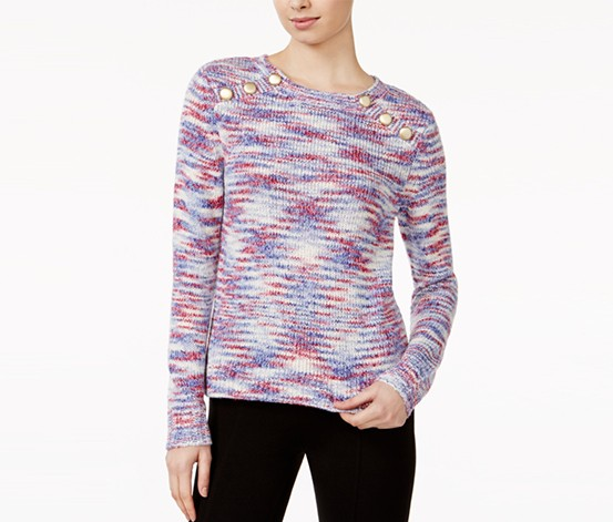Kensie Space-Dye Button-Detail Sweater, Royal Purple