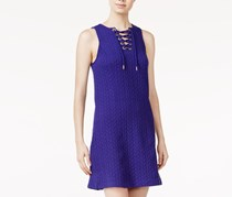 Kensie Quilted Lace-Up Dress, Electric Purple