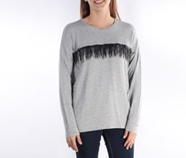 Kensie Women's Fringed Long Sleeve Top,Gray