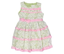 Lavender by Us Angels Little Girl's Lace Sleeveless Bow Front Dress, Mint/White