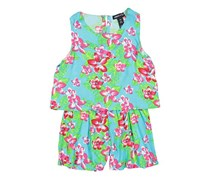 Limited Too Kid's Girl Floral Print Romper, Turquoise/Pink/Green