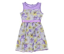 Lavender by Us Angels Little Girls Printed Waffled Mesh Full Skirt-Floral Dress, Lilac
