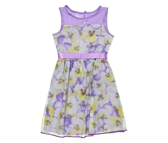 Lavender by Us Angels Girls Printed Waffled Mesh Full Skirt-Floral Dress, Lilac