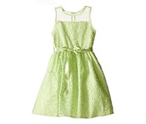 Us Angels Embroidered Daisy With Mesh Overlay Dress, Mint