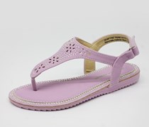 Laura Ashley Girl's Beaded Sandal,Light Purple