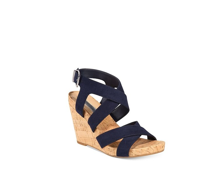 Womens Landor Strappy Wedge, Indigo