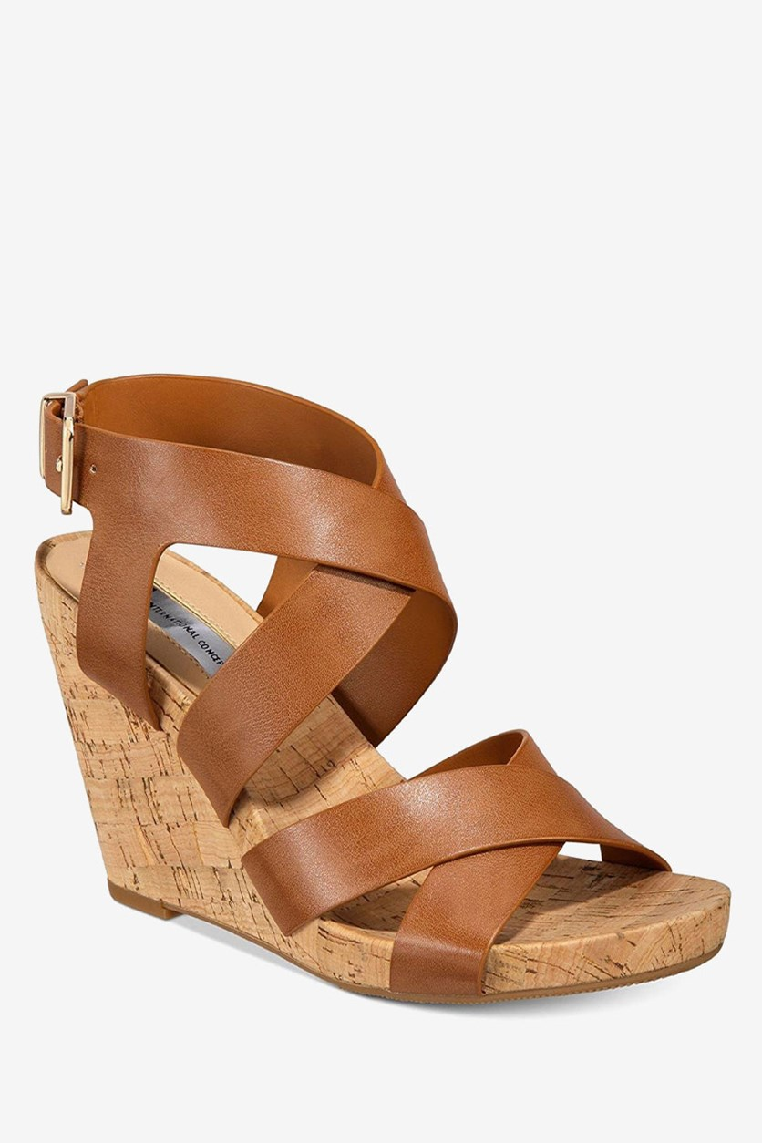 International Concepts Women's Landor Open Toe Casual Platform Wedge, Golden Cognac