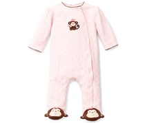 Baby Girls' Pretty Monkey Footed Coverall, Pink