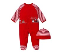 Baby Boys' Holiday Footed Coverall & Hat Set, Red