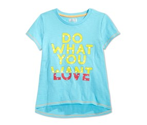 Layer 8 Toddler Girls' Do What You Love T-Shirt,Blue Fish