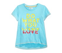 Layer 8 Little Girls' Do What You Love T-Shirt,Blue Fish