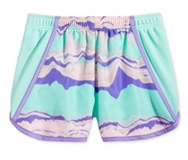 Layer 8 Little Girls Mesh-Side Shorts, Mint