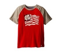 Lucky Brand Established Tee,Red/Heather Grey
