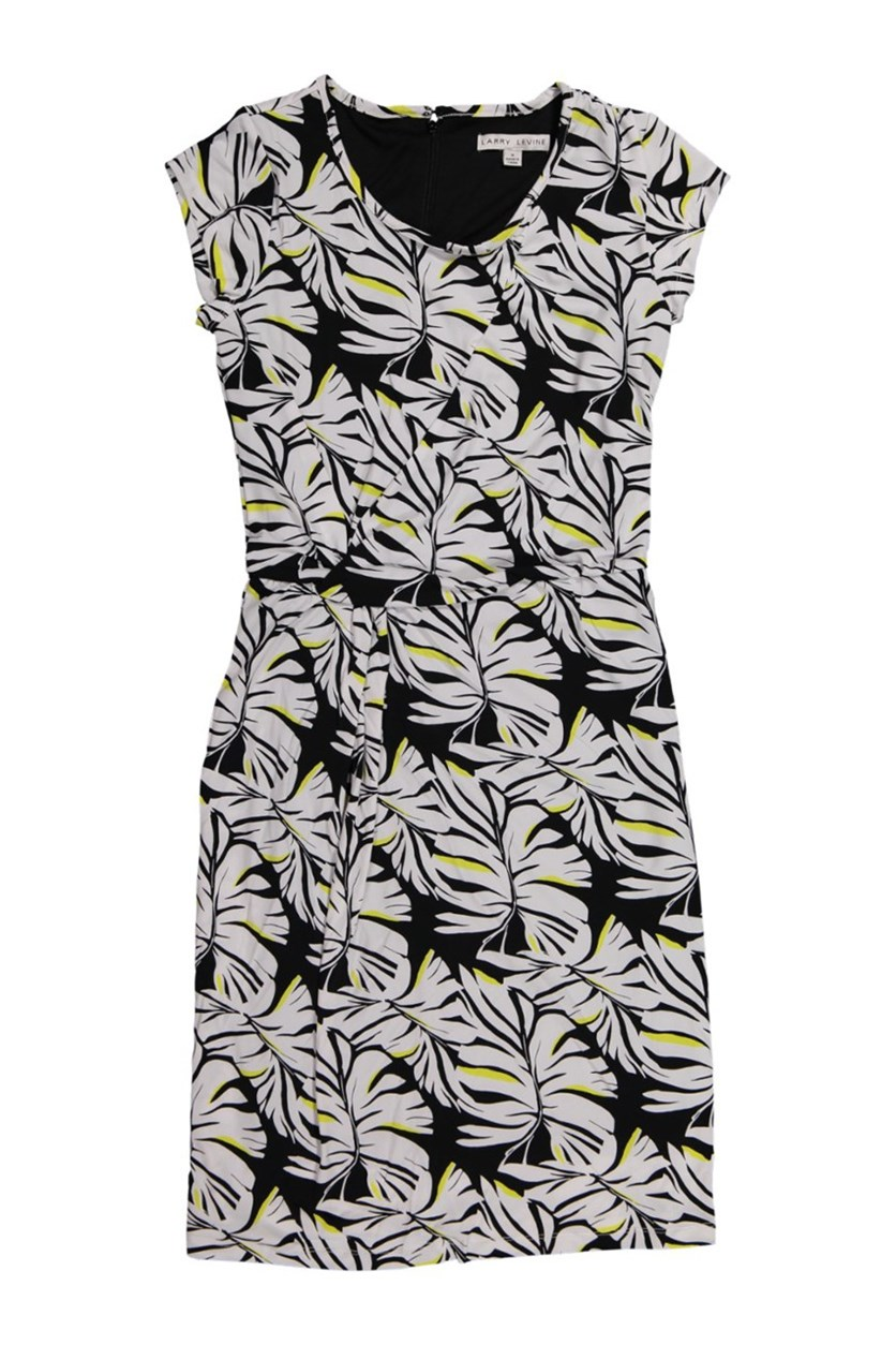Women's Big Tropical Leaf Dress, Black/White