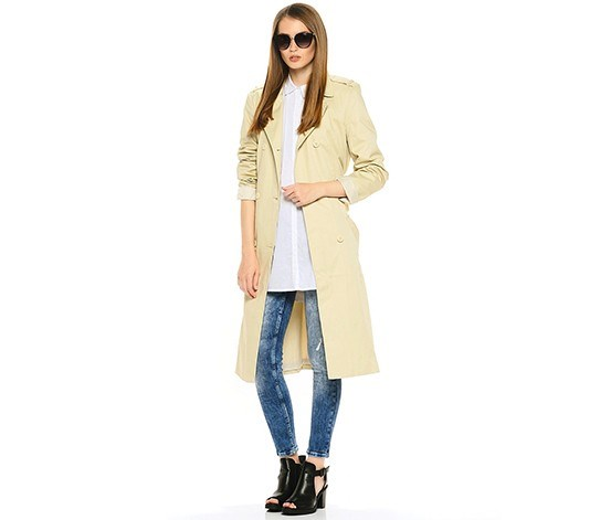 Chillin by Cropp Womens Double Button Coat, Beige