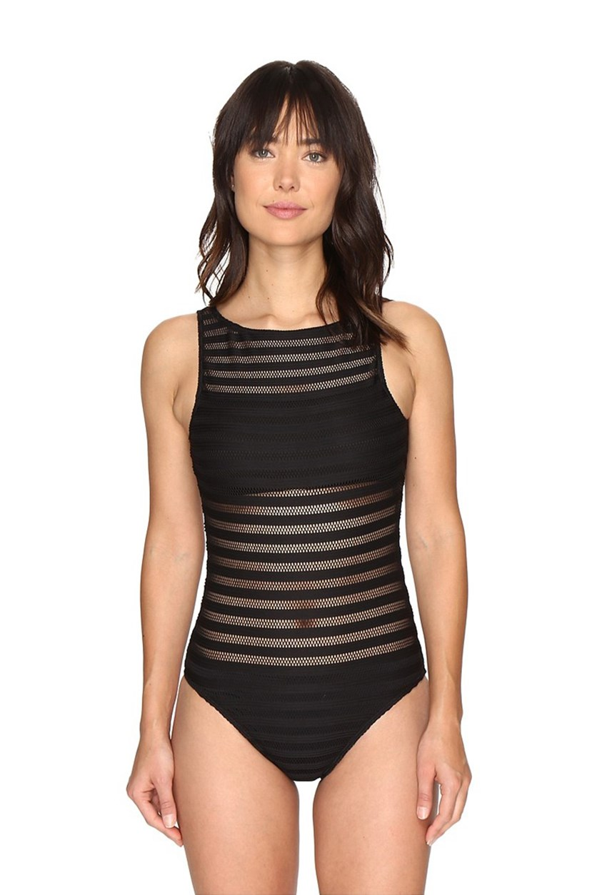 Mesh One-Piece Swimsuit, Black