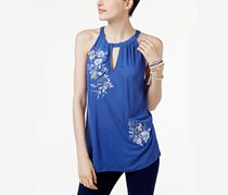 International Concepts Embroidered Halter Top, Sail Blue