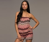 Macbeth Collections Women's Strapless Knit Romper, Brown/Pink