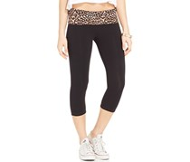 Material Girl Active Junior's Cropped Fold Over Leggings, Black