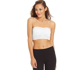 Material Girl Juniors' Lace Bandeau Top, Bright White
