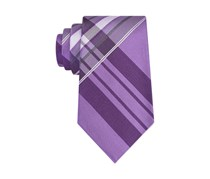 Kenneth Cole Reaction Mens Aquamarine Plaid Tie, Purple
