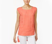 Calvin Klein Textured High-Low Shell Top, Porcelain Rose