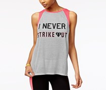 Material Girl Active Juniors' Graphic Muscle T-Shirt, Heather Platinum