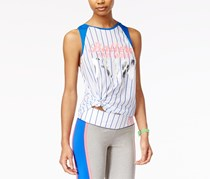 Material Girl Active Juniors' Graphic Muscle T-Shirt, Bright White/Blue