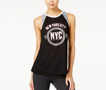 Material Girl Active Pro Sequined Graphic Muscle T-Shirt, Noir