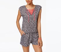Material Girl Active Juniors' Lace-Up Romper, Spliced