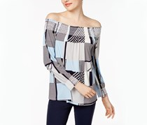 Calvin Klein Smocked Off-The-Shoulder Peasant Top, Twilight Print