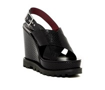 Marc By Marc Jacobs Irving Snake Print Wedge Sandal, Black