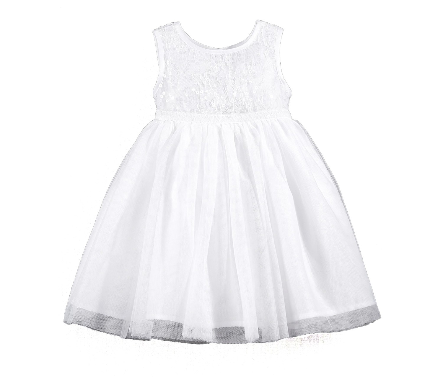 Blueberi Boulevard  Baby Girls Sequin Lace Dress, White