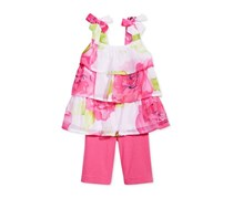 Toddlers 2 Piece Tiered Floral-Print Tunic Set, Pink