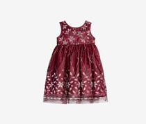 Blueberi Boulevard Baby Girl's Embellished Dress, Burgundy