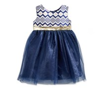 Blueberi Boulevard Baby Girls Brocade & Tulle Dress, Navy