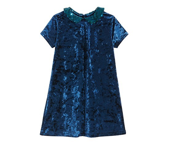 Boulevard Toddler Girls Velvet Sequin Dress, Blue