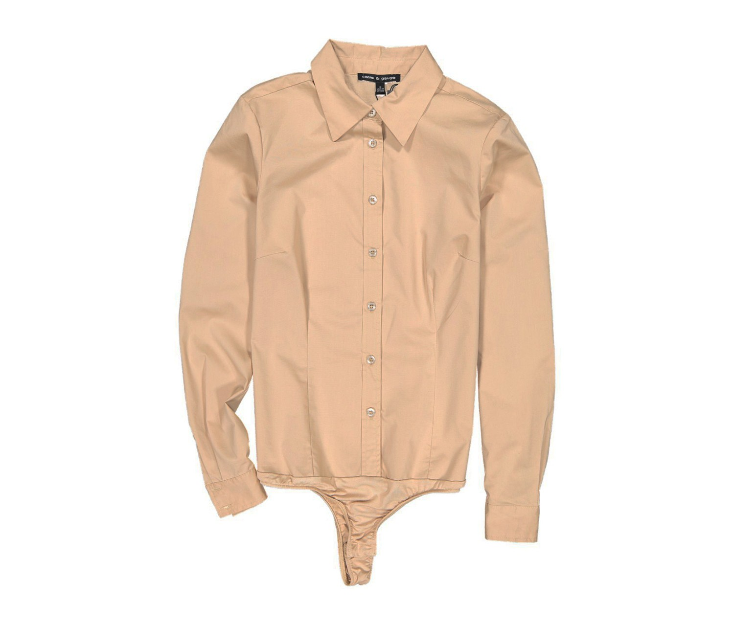 Womens Long Sleeve Shirt Bodysuit, Sesame