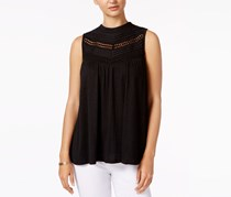 Cable & Gauge Lace-Trim Top, Black