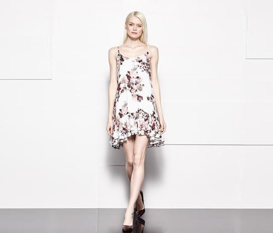 Womens Floral Print Dress, White/Maroon