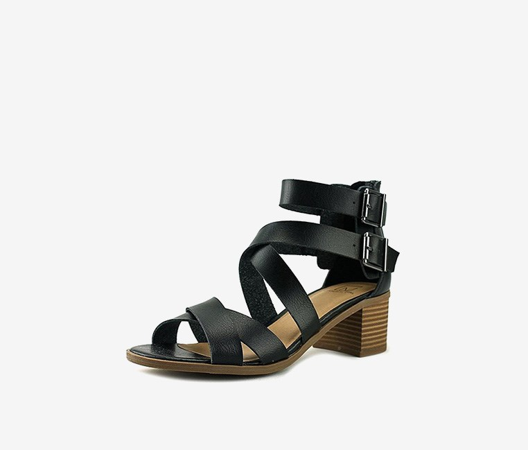 Danee Block Heel City Sandals, Black
